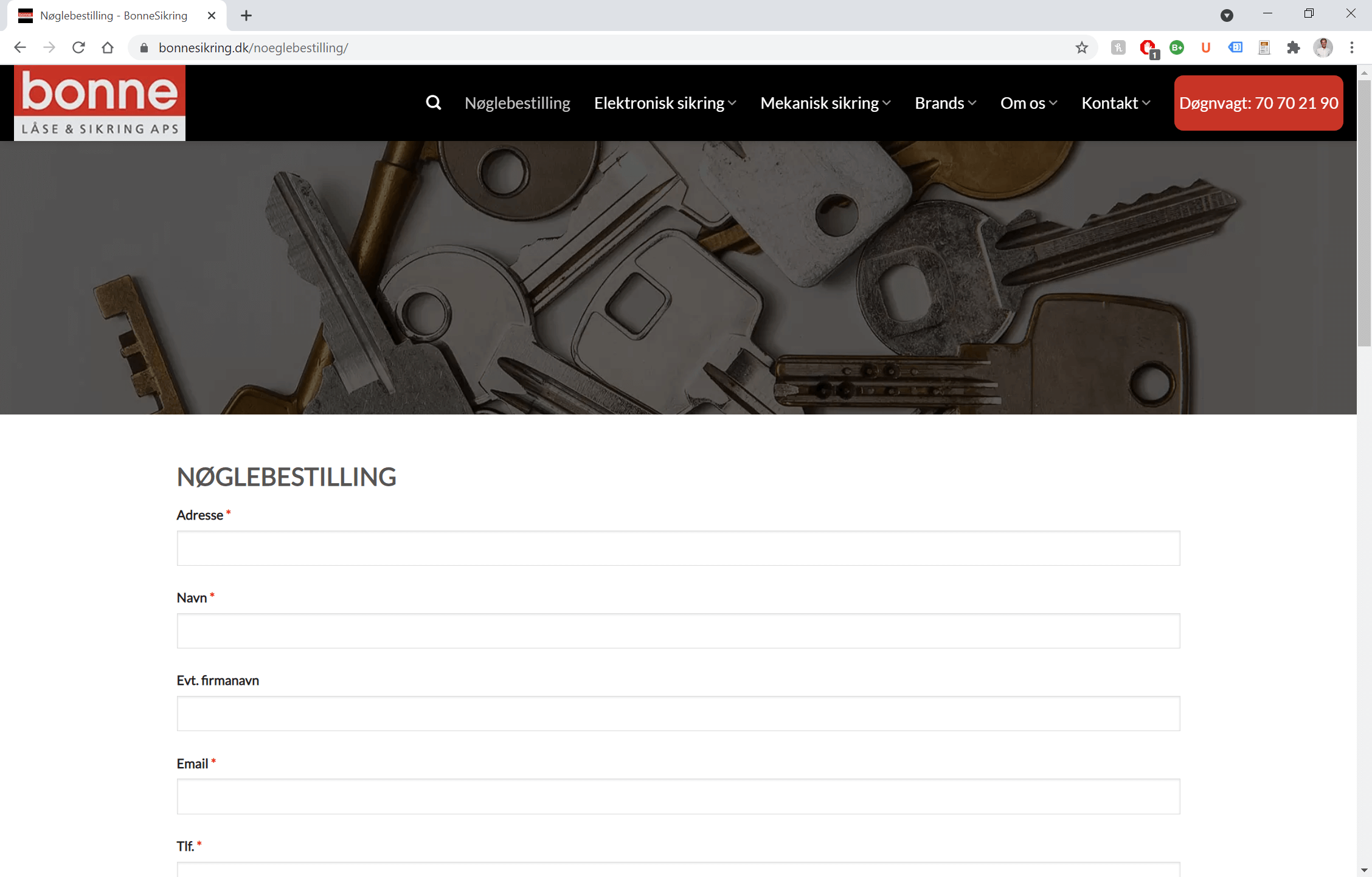 Nøglebestilling - Bonne Sikring